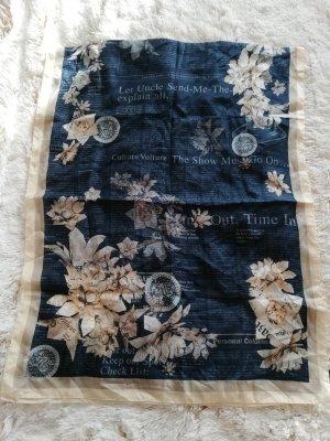 John Galliano Seiden Schal Paper Flowers blau
