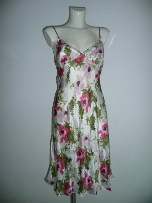 John Galliano Tropical Blüten Print Kleid Trägerkleid Slip Dress Seide Silk Gr 36