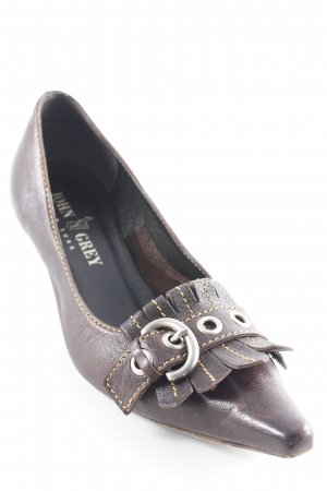 John Grey Spitz-Pumps dunkelbraun Business-Look