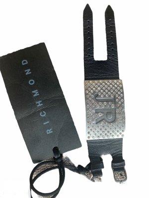 John Richmond Abanico negro-color plata Cuero