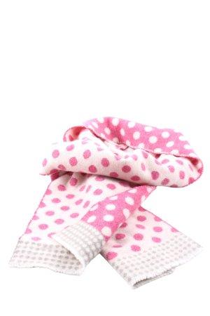 Johnstons cashmere Sjaal van kasjmier roze-wolwit gestippeld patroon