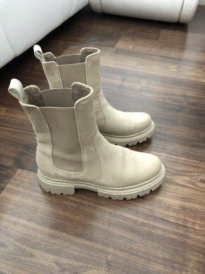 Jolana & Fenena Combat Boots Chelsea Stiefel Winterstiefel Creme beige Gr. 37 - 38