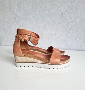 Jolana & Fenena Wedge Sandals camel leather