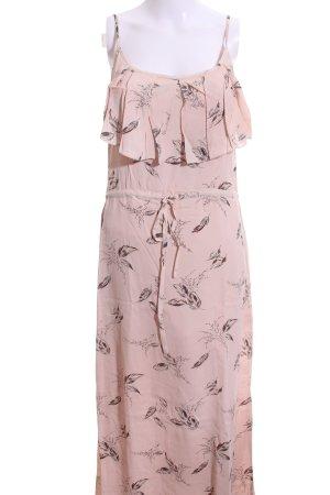 jolie jolie Maxikleid pink-schwarz Allover-Druck Casual-Look