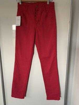 Jonathan Simkhai High Waist Jeans magenta cotton