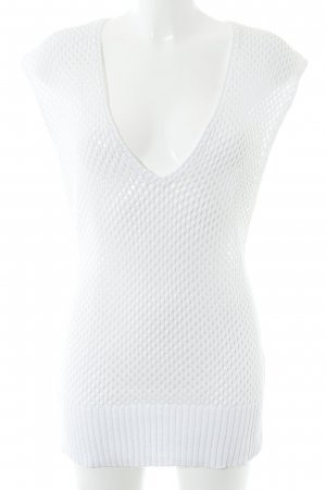 Jones Szydełkowany top w kolorze białej wełny Prosty styl