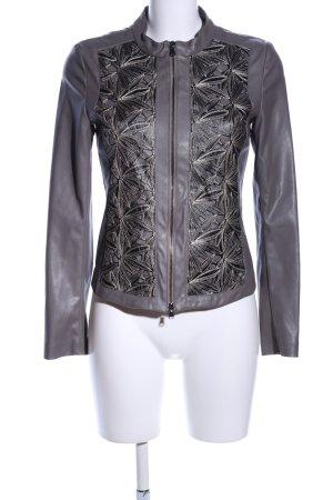 Jones Veste en cuir synthétique gris clair-noir motif de fleur