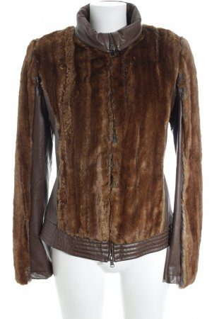 Jones Veste en cuir synthétique brun foncé-brun style extravagant