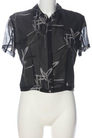 Jones Camicia a maniche corte nero-grigio chiaro Stampa a tema stile casual