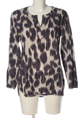 Jones Langarm-Bluse schwarz-creme abstraktes Muster Casual-Look