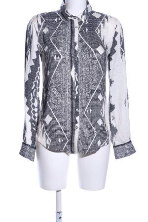Jones Langarm-Bluse hellgrau-weiß grafisches Muster Casual-Look