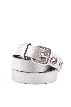 Jones Cintura di pelle argento effetto bagnato