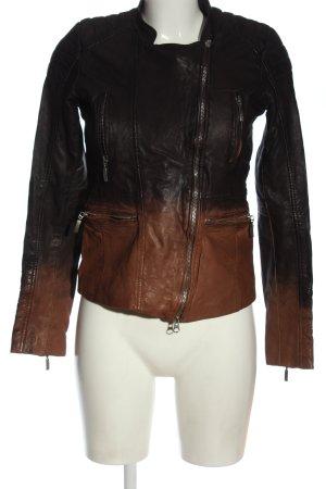 Jones Lederjacke schwarz-braun Farbverlauf Casual-Look