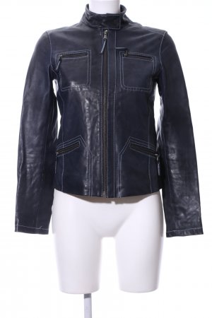 Jones Lederjacke blau Casual-Look
