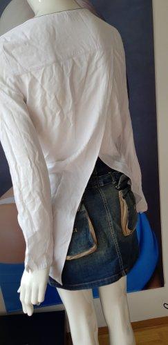 Jones longbluse rückenfalte weiss 34 viskose jeansrock small