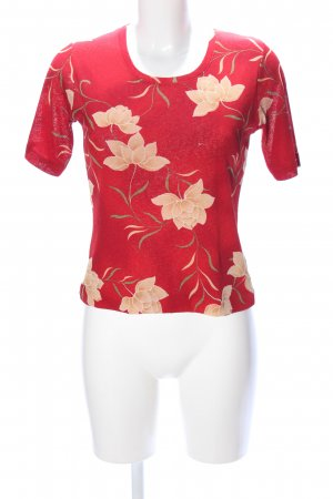 Jones T-Shirt rot-creme Blumenmuster Casual-Look