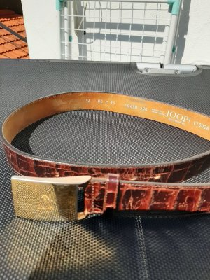Joop! Leather Belt dark brown-gold-colored leather