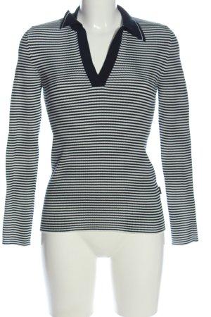Joop! Jeans Schlupf-Bluse weiß-schwarz Streifenmuster Casual-Look