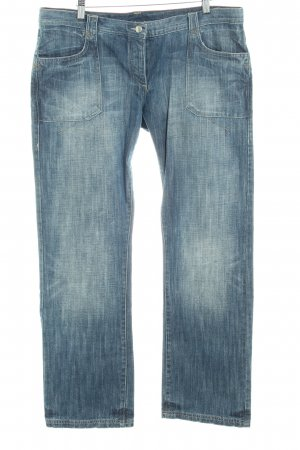 Joop! Jeans Straight-Leg Jeans stahlblau-graublau Logo-Applikation aus Leder