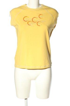 Joop! Kurzarm-Bluse blassgelb Schriftzug gedruckt Casual-Look