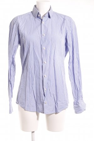 Joop! Langarmhemd wollweiß-stahlblau Streifenmuster Business-Look