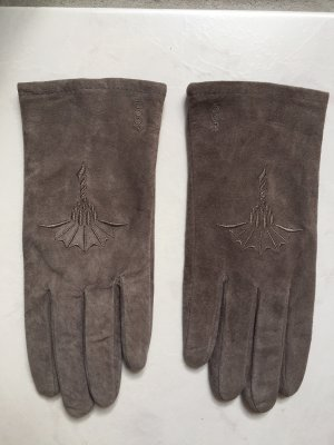 Joop! Leather Gloves light grey-silver-colored leather