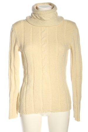 Joop! Sweter z golfem kremowy Warkoczowy wzór W stylu casual