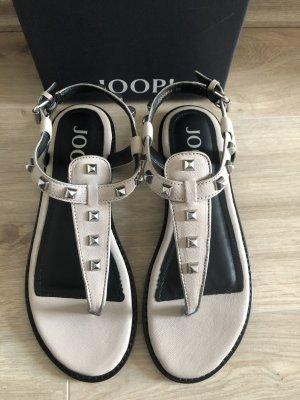 Joop! Sandały japonki z rzemykami szary-czarny Skóra