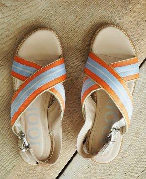 JOOP! Sandalen High Fashion Designer Sandalen Gr 39 Leder + Stoff toll zu Jeans Kleid Tunika Leinenbluse
