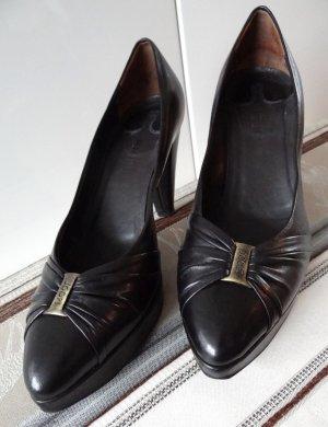 JOOP! - schicke Leder Pumps/High Heels mit Plateau - schwarz -
