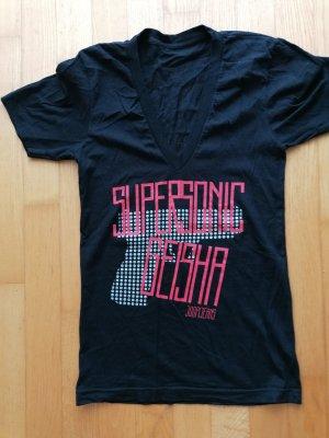 Joop! Camisa con cuello V negro-rosa