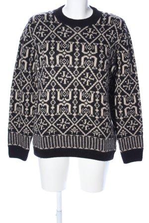 Joop! Strickpullover schwarz-wollweiß grafisches Muster Casual-Look