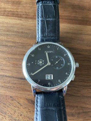 Joop! Horloge met lederen riempje donkerblauw Leer