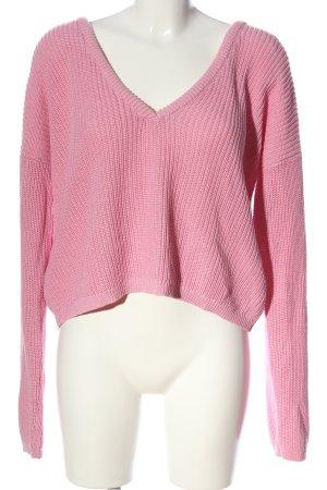Josefin Ekström for NA-KD V-Ausschnitt-Pullover pink Casual-Look