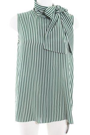 Joseph ärmellose Bluse wollweiß-waldgrün Streifenmuster Business-Look