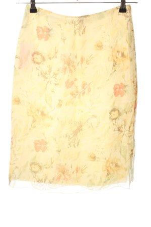 Joseph Janard Jupe en soie jaune primevère-rose chair imprimé allover