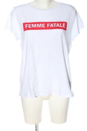 Joseph Janard T-Shirt weiß-rot Motivdruck Casual-Look
