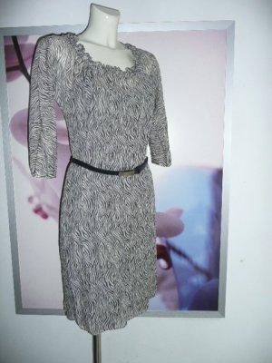 Joseph Janard Zebra Print Tunika Kleid Dress Baumwolle + Seide schwarz weiß Gr 36