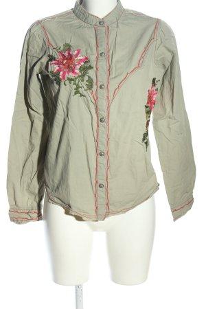 Joseph Langarm-Bluse khaki-pink Blumenmuster Casual-Look