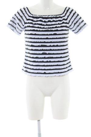 Joseph Ribkoff Carmen shirt zwart-wit gestreept patroon zakelijke stijl