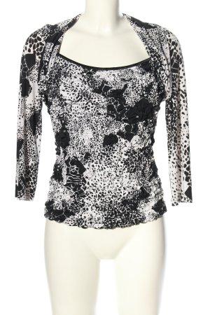 Joseph Ribkoff Langarm-Bluse schwarz-weiß abstraktes Muster Business-Look