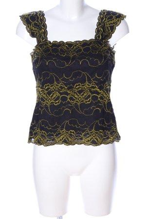 Joseph Ribkoff Spitzentop schwarz-grün abstraktes Muster Elegant