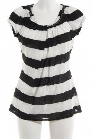 Joseph Ribkoff Knitted Top black-white striped pattern casual look