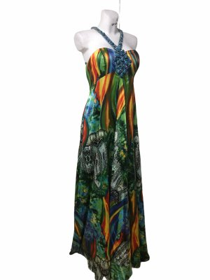 Jovani edles Damen Statement Kleid Abendkleid bunt mit Perlen Strass 42