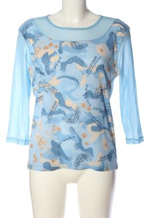 Joy Long Sleeve Blouse blue-cream allover print casual look
