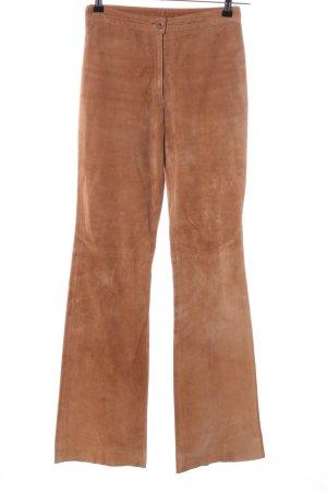 Joy Pantalone in pelle marrone stile casual