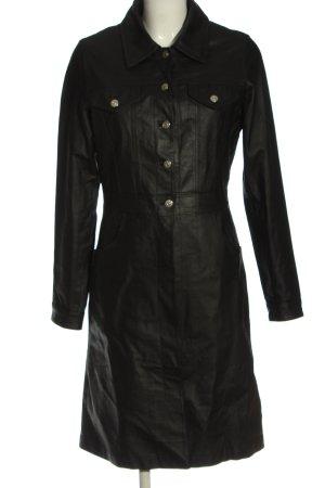 Joy Abrigo de cuero negro look casual