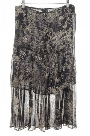 Joy Broomstick Skirt black-beige flower pattern