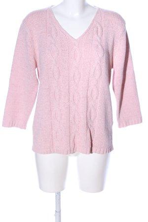 Joy V-Ausschnitt-Pullover pink Zopfmuster Casual-Look