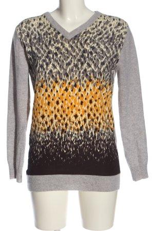 Joyce & Girls V-Ausschnitt-Pullover hellgrau-blassgelb meliert Casual-Look
